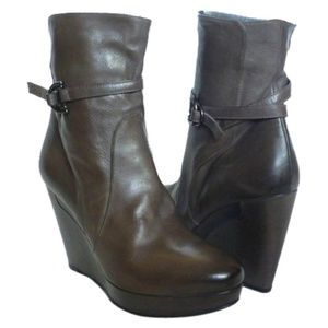 Alberto Fermani Roma Leather Wedge Ankle Boots